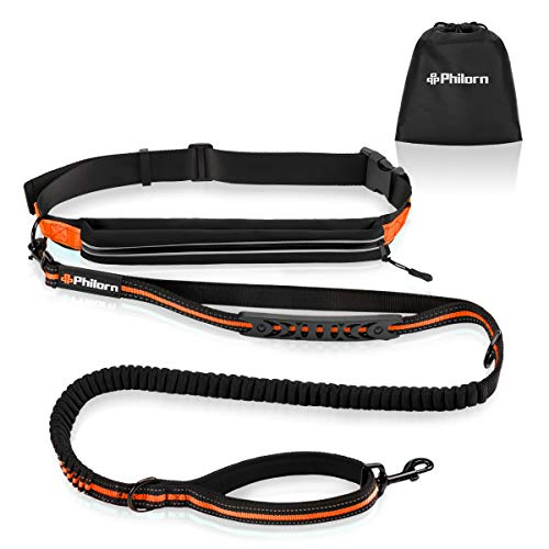 PHILORN Hands Free Dog Leash for Running, Jogging | Reflective Stitching, Adjustable Waist Belt(24