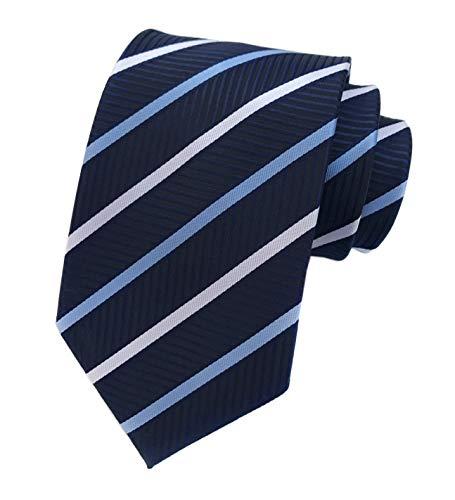 Mens Navy White Blue Extra Long Woven Silk Work Dress Ties Fashion Silk Neckties