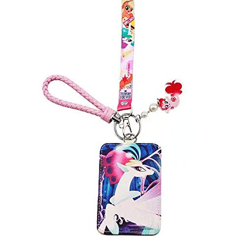 (ID Badge Holder with Lanyard, My Little Pony Cute Cartoon Badge Holder with PU Leather Card Slots, Excellent Lanyard and Awesome Hand Rope,Perfect Gift for Friend's Birthday, Halloween,)