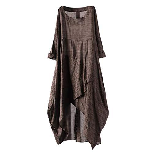 Yucode Women Solid O-Neck Short Sleeve Rolled Sleeve Irregular Hem Tunic Long Maxi Dress Casual Dresses Coffee