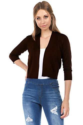 - CIELO Women's Soft Solid Colored Open Front 3/4 Sleeve Cardigan Brown Small
