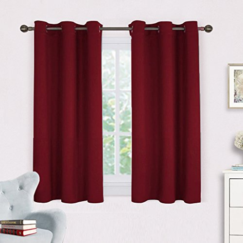 ains Blackout Drapes - NICETOWN Thermal Insulated Solid Grommet Blackout Curtains / Draperies for Thanksgiving Day (One Pair,42 by 45-Inch,Burgundy Red) (Garden Toile Fabric)