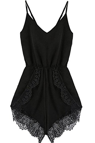 FACE N FACE Women's Lace Chiffon Sleeveless Jumpsuit Rompers Medium Black