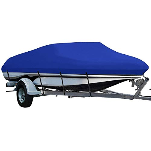 LEADALLWAY Heavy Duty 210D Polyester Cover Marine Grade Trailerable Boat Cover,Fits V-Hull Tri-Hull Runabouts and Bass Boats,20-22ft,Blue