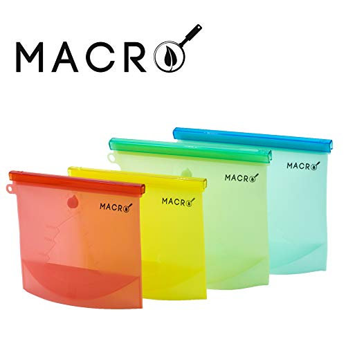 MACRO Airtight Reusable Silicone Food Storage and Freezer Bags | LFGB/FDA Approved | 4 Pack | 2 Large 2 Medium | Leak Proof | Dishwasher Safe | Snacks and Sandwiches