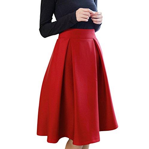 FuweiEncore Jupe Femme Pliss vase Casual Mi-Longue Haute Taille aux Genoux Jupe Patineuse Elastique Rouge