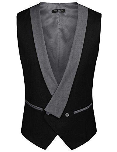 COOFANDY Mens Dress Vest Formal Business Waistcoat One Button Slim Fit Suit Vest by COOFANDY (Image #4)