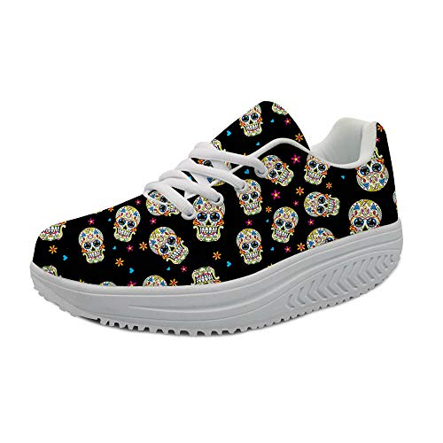 FOR U DESIGNS Womens Mesh Lace Up Platform Wedges Walking Sneakers Suger Skull Pattern Sports Swing Shoes,Black US 8