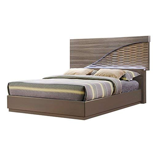 Global Furniture North(138)-QB Bed, Zebra Wood with Gold Lines, Queen