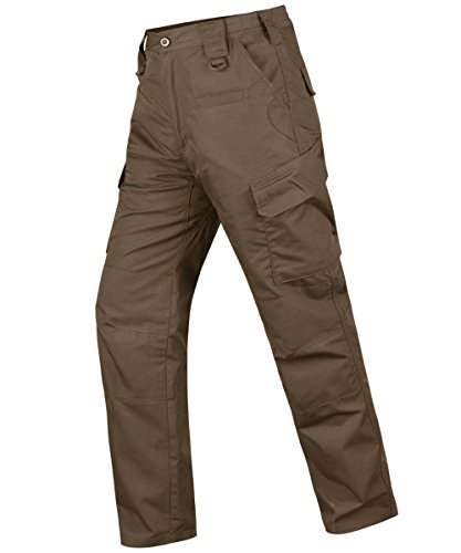 HARD LAND Men's Waterproof Tactical Pants Ripstop Cargo Work Pants with Elastic Waist for Hunting Fishing Hiking Size 38×30 Coyote Brown by HARD LAND (Image #1)