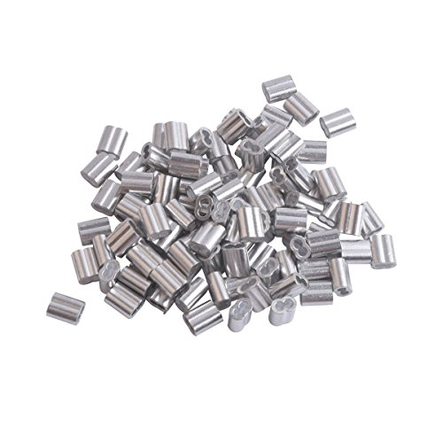 (Accessbuy 100 Pieces Aluminum Crimping Loop Sleeve for 1/8 Inch Diameter Wire Rope and Cable)