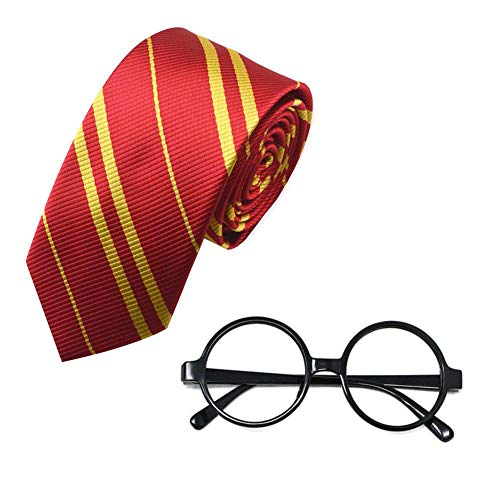 FOONEE Striped Tie and Novelty Plastic Wizard Glasses Round Glasses Frame No Lenses for Cosplay Costumes Accessories for Halloween Christmas and Thanksgiving Gift for Kids Children for $<!--$6.98-->