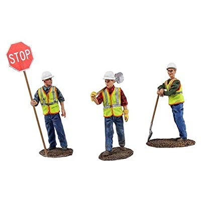 First Gear 1/50 Scale Metal Construction Figures: Worker Holding Stop/Slow Sign, Worker with Shovel Over Shoulder, Worker Leaning on Shovel (#90-0480): Toys & Games