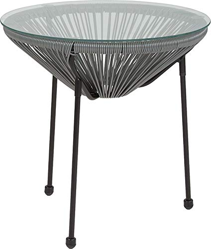 (StarSun Depot Valencia Oval Comfort Series Take Ten Grey Rattan Table with Glass Top 19.75