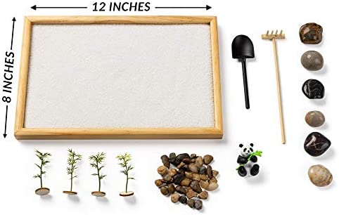 Zen Garden with Panda - Relaxation & Meditation Gift - 12x8 Inches Large - Premium Japanese Zen Garden Kit - Perfect Size for Home Office or Work Desk - Panda Lovers - Gusta Products