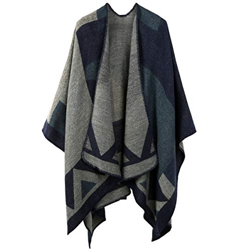 VBG VBIGER Women Winter Scarf Wrap Reversible Oversized Poncho Cape Cardigan Knitted Coat (Wool Blanket Poncho)