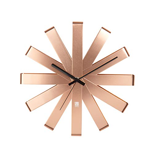 Umbra Ribbon Modern 12-inch Wall Clock, Battery Operated Quartz Movement, Silent Non Ticking Wall Clock, Copper ()