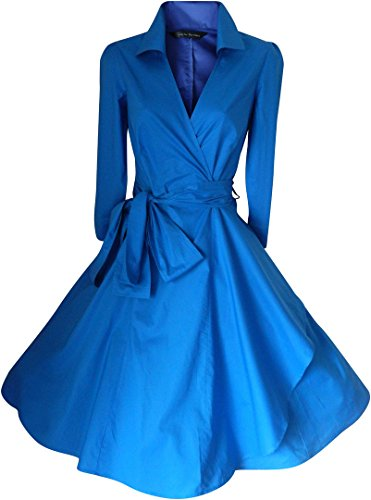 swing Look 50 The Westhome Dell'abito Up For Reale Suffragette Stars pin Donna Party Rockabilly Blu Avvolto wgBwHq