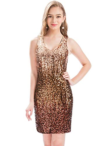 MANER Women's Sexy V Neck Sequin Glitter Bodycon Stretchy Club Mini Party Dress (XS, Tortilla/Coffee/Syrap)