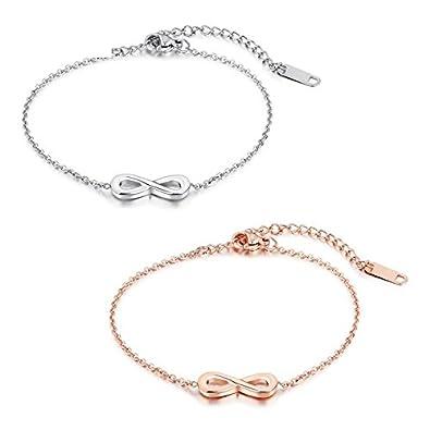 43232f46681d Damen 2pcs Infinity Armband Silber Rosegold, Gutcandie Edelstahl Unendlichkeit  Zeichen Lieben Fußkette Armreif Armkette für