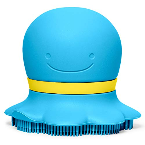 (Skip Hop Moby & Friends Ultra-Soft Silicone Soap Sudsy Baby Bath Scrubber, Blue Octopus)