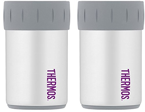 Thermos Vacuum Insulated Stainless Steel Beverage Can Insulator for 12 Ounce Can, Matte White - 2 Pack