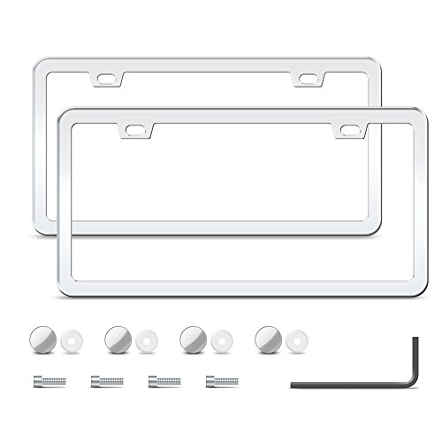 2 Stainless Steel License Plate Frame with 2 Holes, Polish Mirror Silver - Steel Mirror Polish Stainless