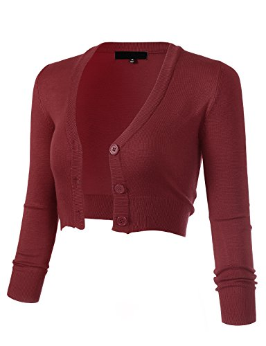 Women's Solid Button Down 3/4 Sleeve Cropped Bolero Cardigans 3XL Burgundy CO129 (Vest Cropped Sweater)