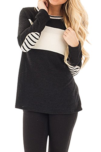 Women Cotton Longsleeve Patchwork Cotton Knits Sweatshirts Color Block Loose Lounge Tunic Tops Black (Incredibles Outfit)