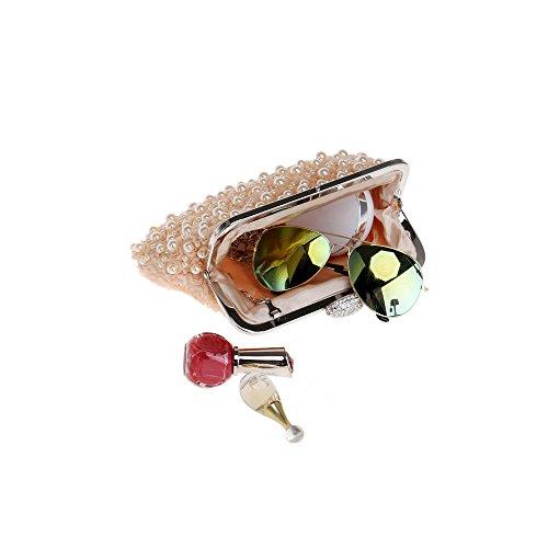 Wedding Pearl Women Bead Rhinestone Bag Clutch Handbag Party for Evening Shoulder on Champagne Fully 6qHPq