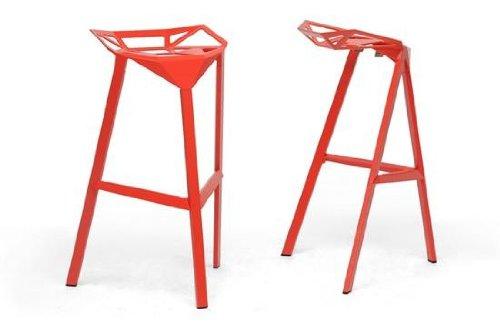 Kaysa Red Aluminum Modern Bar Stool - Wholesale Interiors - BS-363-Red (Aluminum And Crate Barrel Stools)