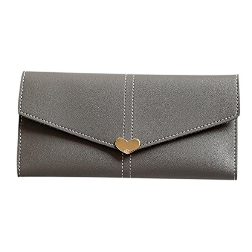 Women Envelope Wallet Card Holder PU Leather by Coerni (Dark Grey) - Prima Checkbook Wallet