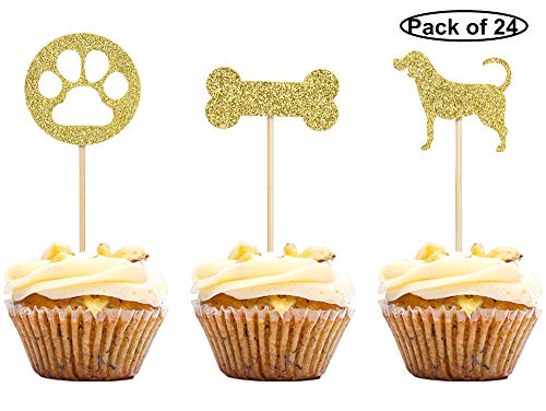 24 PCS Dog Cupcake Toppers Gold Puppy Cupcake Toppers Pet Theme Baby Shower Birthday Party Cupcake Decoration Supplies