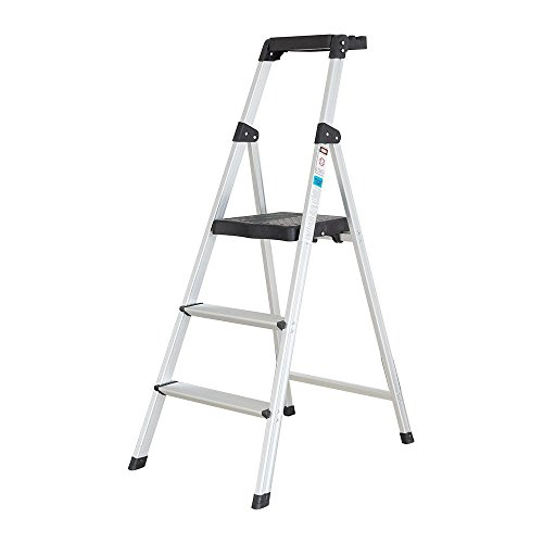 Livebest Step Ladder 3 Step Anti-Slip Ladder Step Stool with Handrails and Platform Heavy Duty 330 Lb Capacity,Aluminum by Livebest