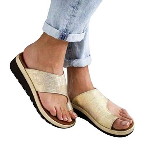 Zoomarlous 2019 New Women Comfy Platform Sandal Shoes Summer Beach Travel Shoes Fashion Sandals Comfortable Ladies Shoes(Gold,34)