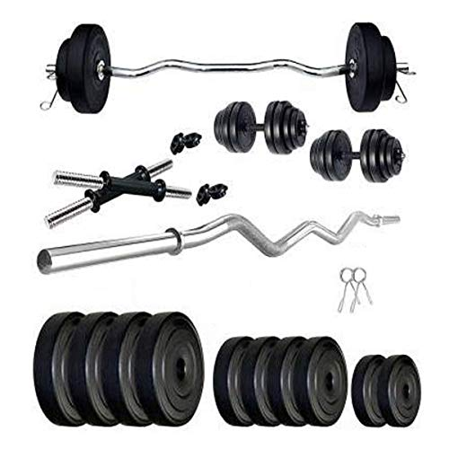 Rockfit PVC Weight with 3ft curl Rod Home Gym Set