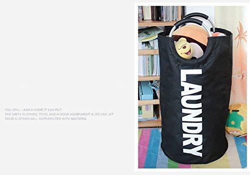 Jebblas Large Laundry Basket, Collapsible Fabric Laundry Hamper, Foldable Clothes Bag, Folding Washing Bin,Black by Jebblas (Image #3)