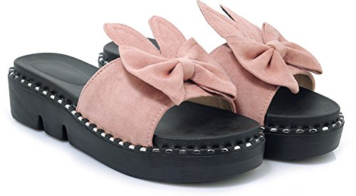 Voyage Fille Ouvert Chic Noeud Aisun Bout Femme Rose Mules n4YXXp