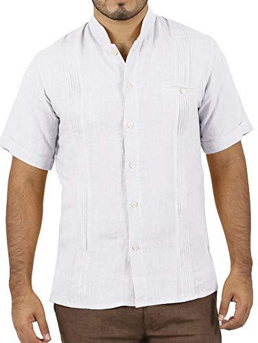 Enjoybuy Mens Cuban Camp Guayabera Linen Shirts Casual Button Down Loose Fit Beach Shirts (X-Large, ()