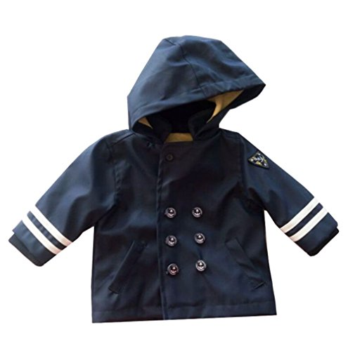 (eKooBee Newborn Infant Baby Boy Jacket Showerproof Sailor Coat PU Leather Outerwear Navy)