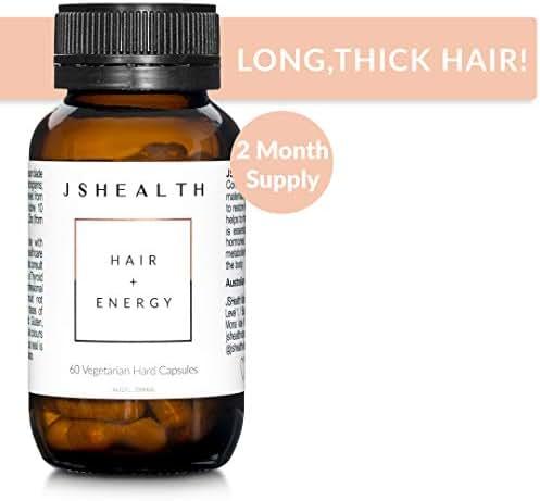 JSHealth Vitamins Hair and Energy Formula | Hair Vitamins for Women and Men | Supplement Hair Growth Vitamin | Hair Loss Supplements | Hair Loss Products (60 Capsules)