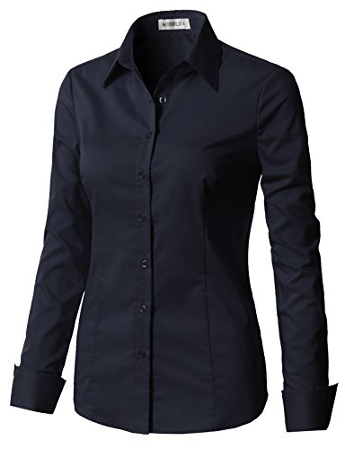 CLOVERY Women's Basic Long Sleeve Formal Work Wear Simple Shirt with Stretch Navy S