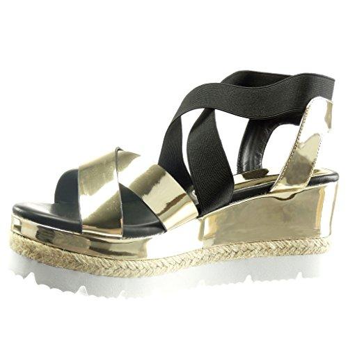 Angkorly Women's Fashion Shoes Sandals - Sneaker Sole - Platform - Shiny - Cord Wedge Platform 7.5 cm Gold oPwu4zU8