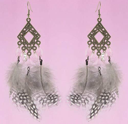 1 Pair Feather Earrings Tear Drop Bead Bronze Rhombus Ornament Noble New Arrive ()