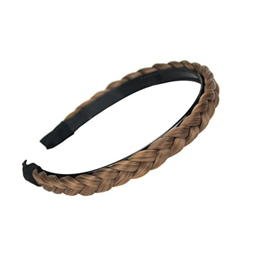 aHairBeauty Hair Plaited Braided Headband Synthetic Hairpieces Braid Wig with Teeth Hair Band Accessories For Women Girl Wide 1 Cm (Caramel Blonde #8/22/27)