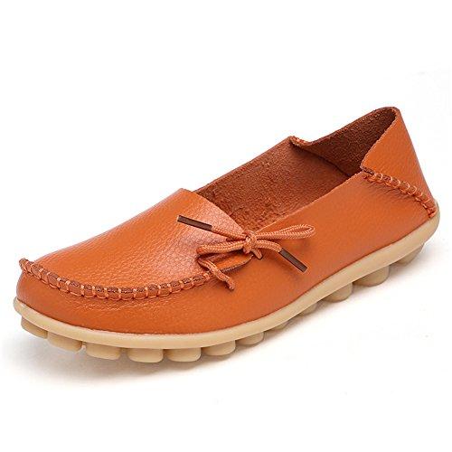 on Mocassini Scamosciata Casual Arancione Slip Scarpe Scieu Da In Spiaggia Driving Pelle Donna 88qfa4