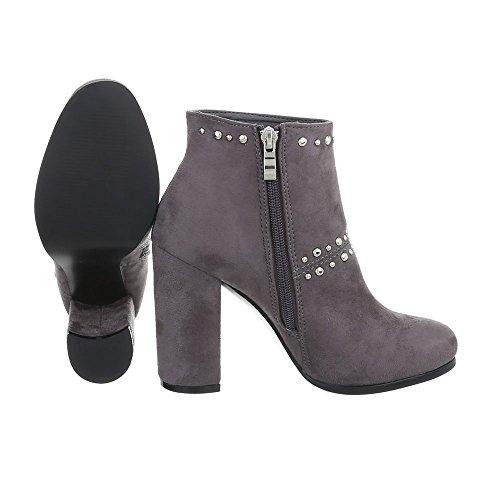 Ital-Design High Heel Stiefeletten Damenschuhe High Heel Stiefeletten Pump High Heels Reißverschluss Stiefeletten Grau M275P