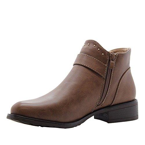 3 Size Heels Block Khaki 8 School Flat Boots SAUTE STYLES Ankle Womens Chelsea wqvzZR