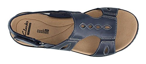 CLARKS 5 W 7 Leather Sandals Leisa Lakelyn Womens Navy zZrzR