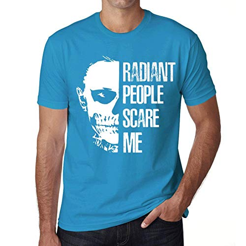 Men's Vintage Tee Shirt Graphic T Shirt People Scare Me Radiant Blue Atoll ()